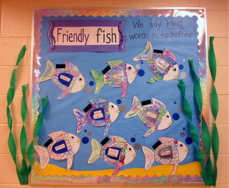 Teaching about friendship with the rainbow fish for Fish bulletin board