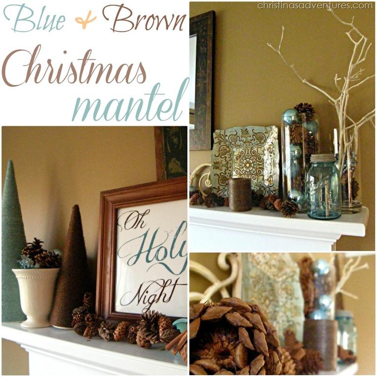 Blue and Brown Christmas Mantel