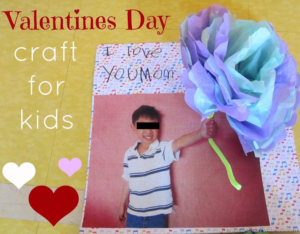 Kids Valentines Craft- tissue paper flower cards
