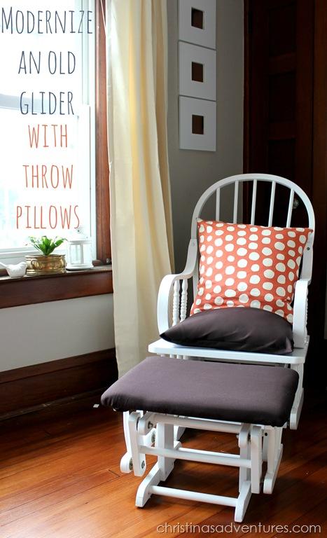 Modernize an old glider with throw pillows - Christinas Adventures