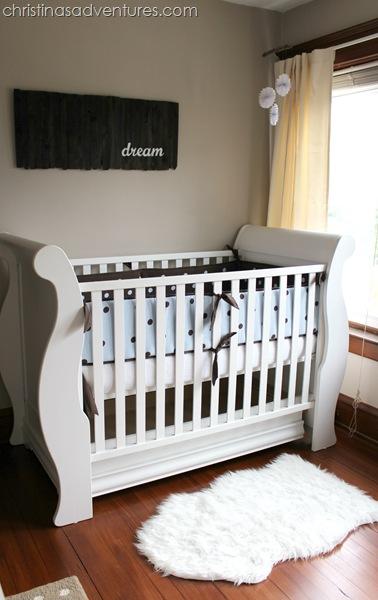 neutral nursery crib