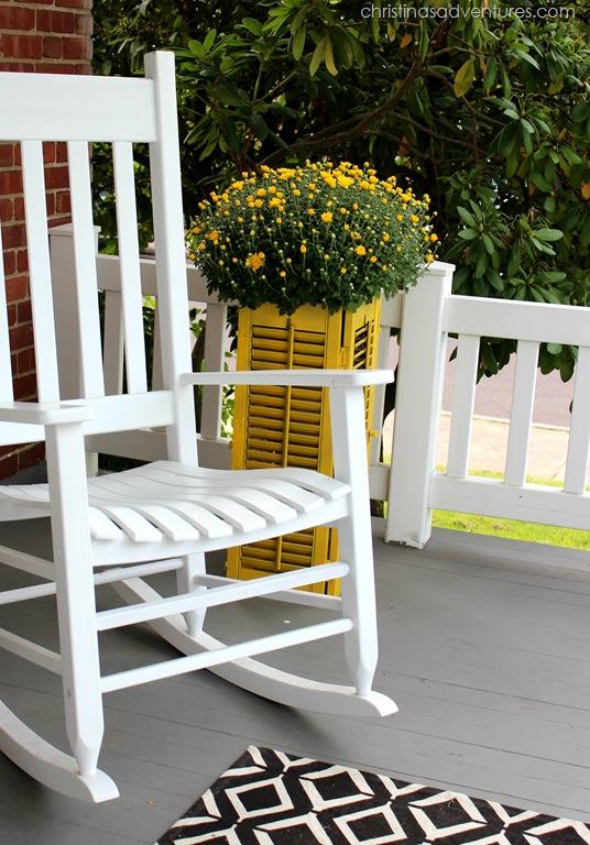 cheery yellow shutter planter