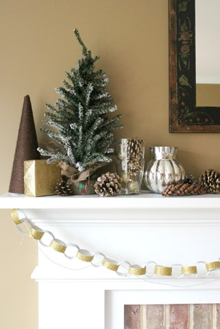 Silver and Gold Christmas Mantel