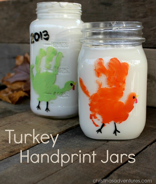 cute turkey handprint jars