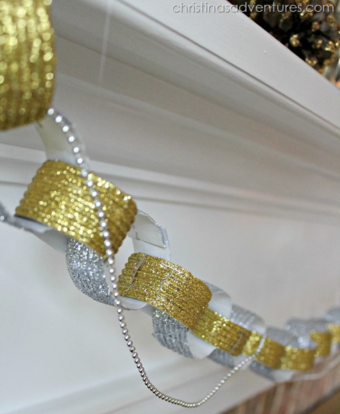 sparkly paper chain mantel