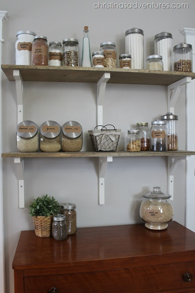 Wood Open Shelving Pantry