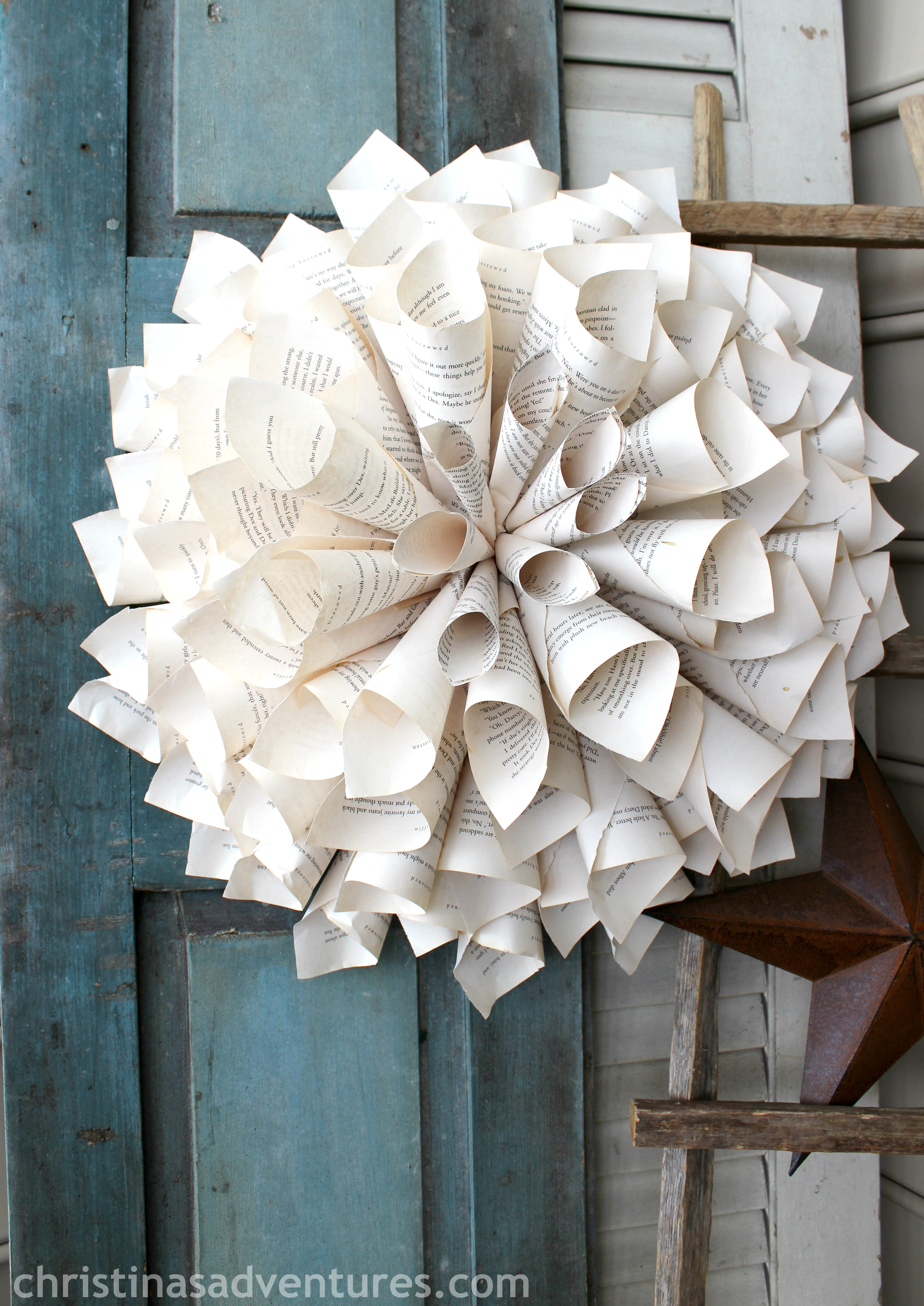 Rolled Book Page Wreath Christinas Adventures