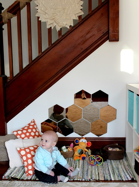 baby play space under the stairs