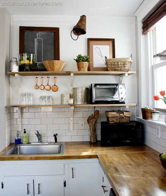 Planked wall and open shelving kitchen