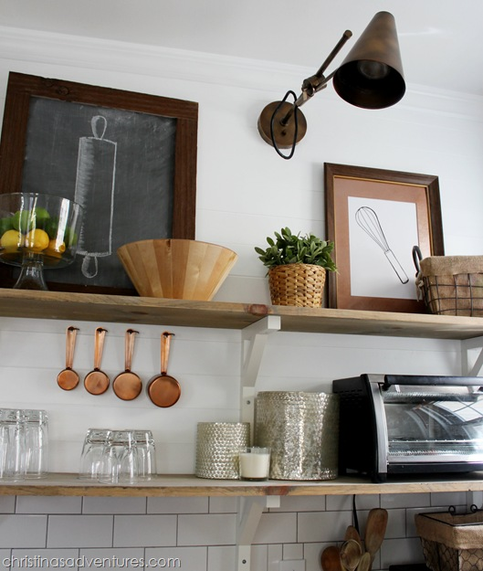 Wooden Open Shelving on Planked Wall