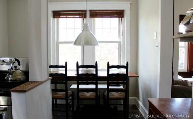 kitchen table with IKEA light