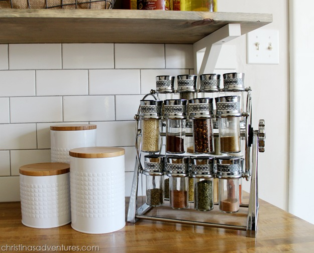 open shelving spice rack