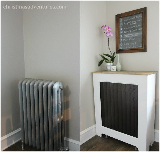 radiator cover before and after