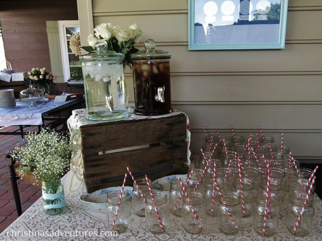 Vintage Bridal Shower Drink Table