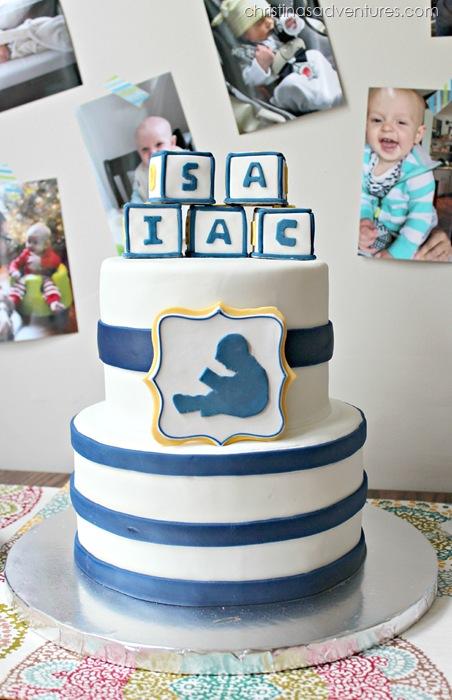 First Birthday Cake - horizontal stripes, letter blocks