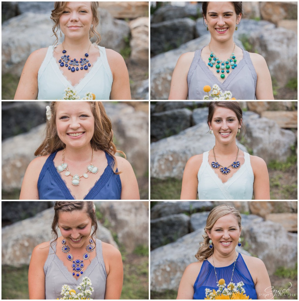 Navy, mint & gray bridesmaids dresses with different statement necklaces