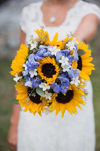 Gorgeous sunflower wedding bouquet