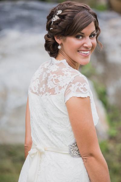 Lace wedding dress, timeless wedding hair, clean wedding makeup