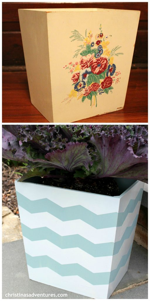 turn a trash can into a planter
