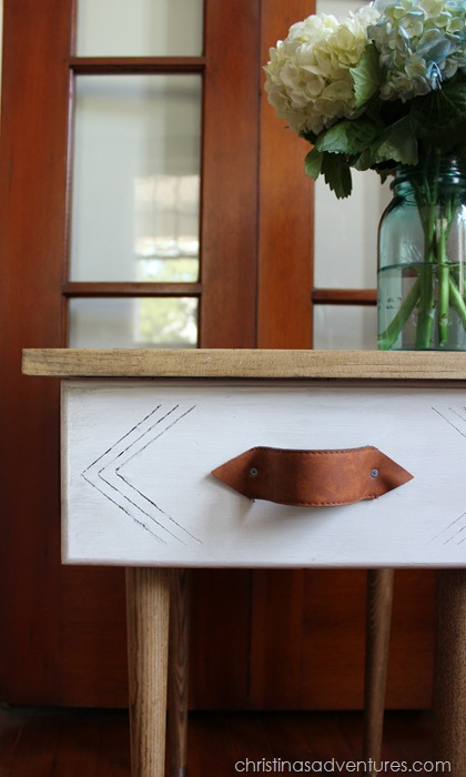 DIY End Table with a Leather Handle