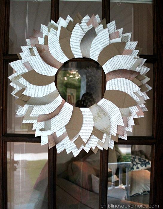 Front door paper leaf wreath