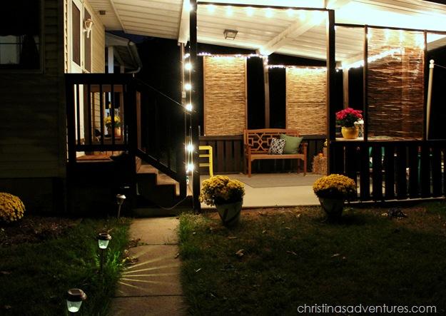 fall porch at night
