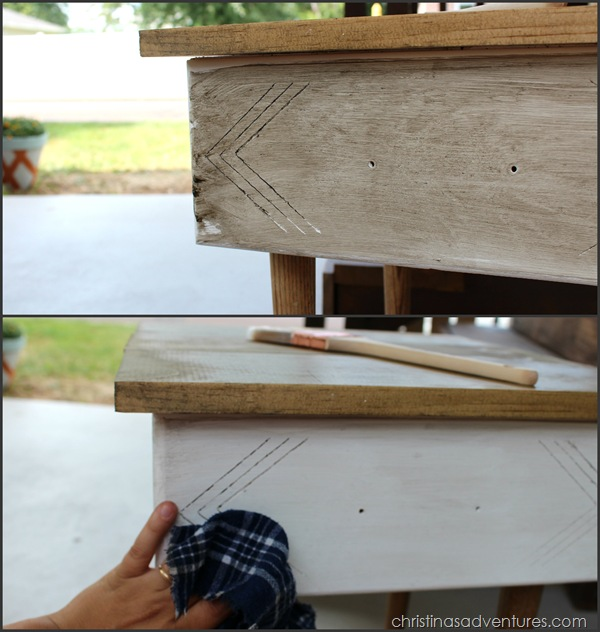 glazing details on an end table