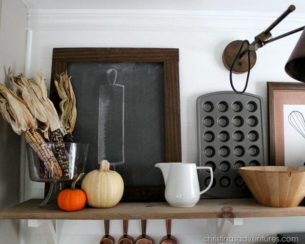 Fall Kitchen Shelves