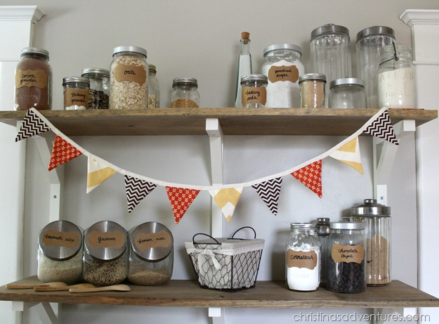 Open Shelving Pantry with fall bunting