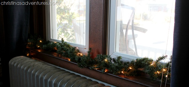 Garland on the window sill