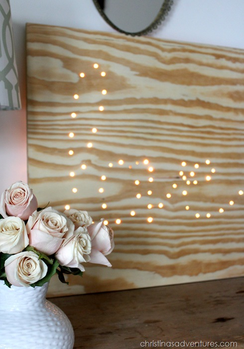 DIY lighted plywood sign