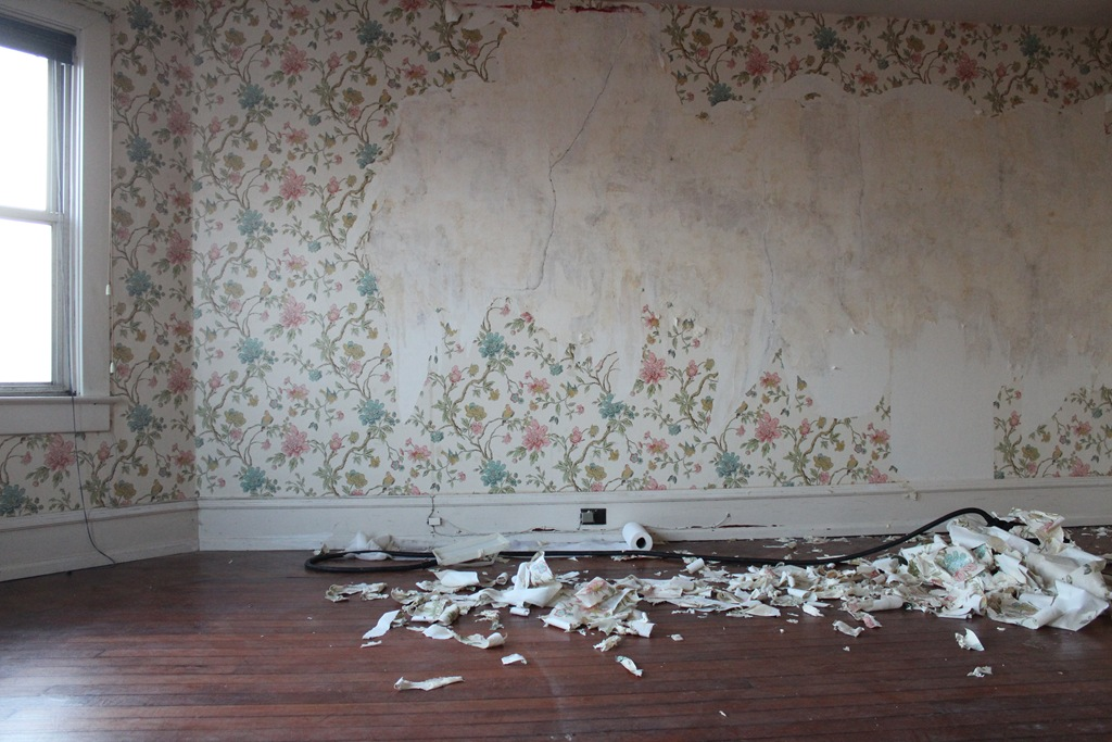 Of Course Stripping Wallpaper Is Just The Beginning Then We Are Scrubbing Any Remaining Adhesive Repairing Holes Cracks In Plaster Sanding That Down
