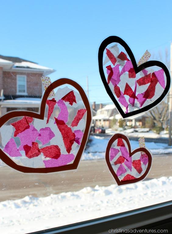 Easy Kids Craft: Heart Suncatchers