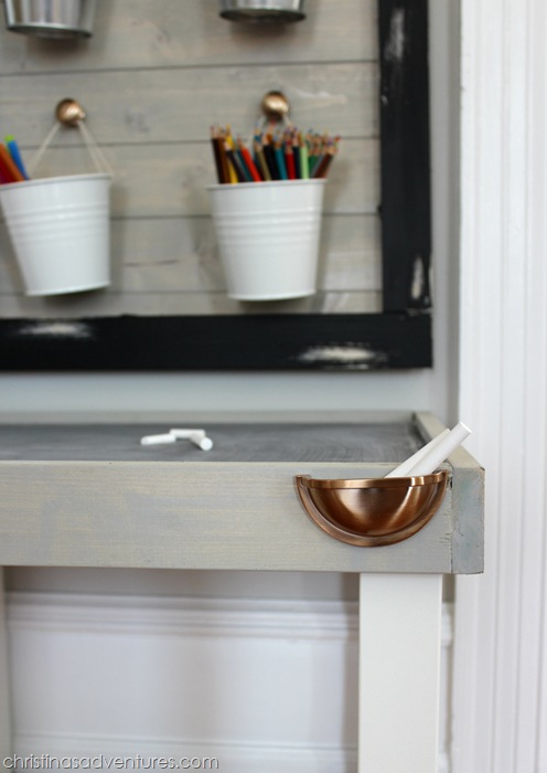 Use hardware to store chalk in an art center