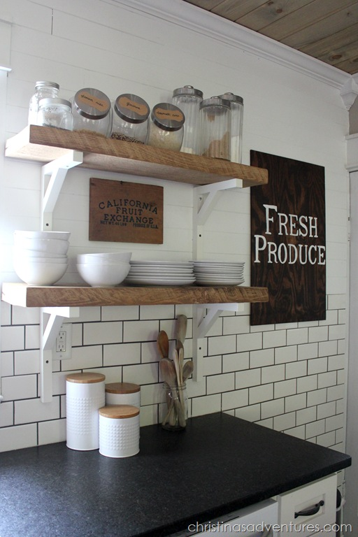 Subway Tile And Wood Open Shelving Kitchen
