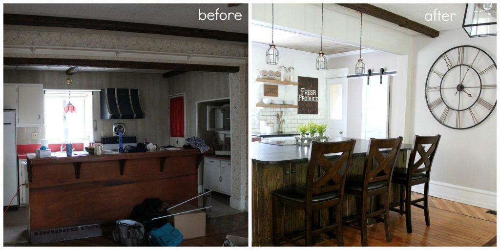 DIY Farmhouse kitchen before and after