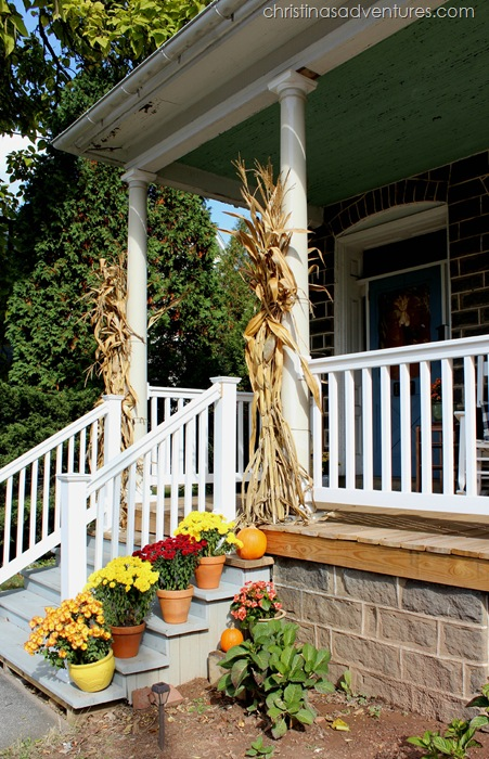 fall front porch steps