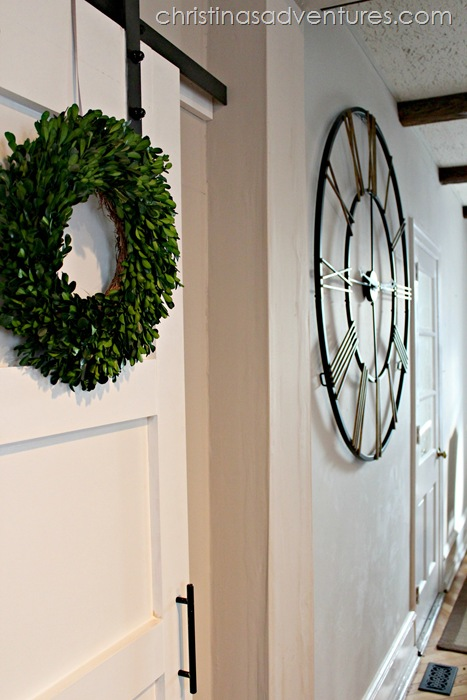 boxwood wreath barn door