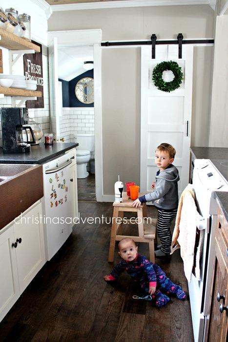 kids in the farmhouse kitchen