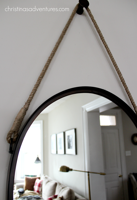 metal and rope hanging mirror