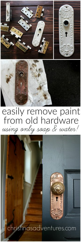 Learn how to remove paint from old hardware using ONLY soap and water - no chemicals!