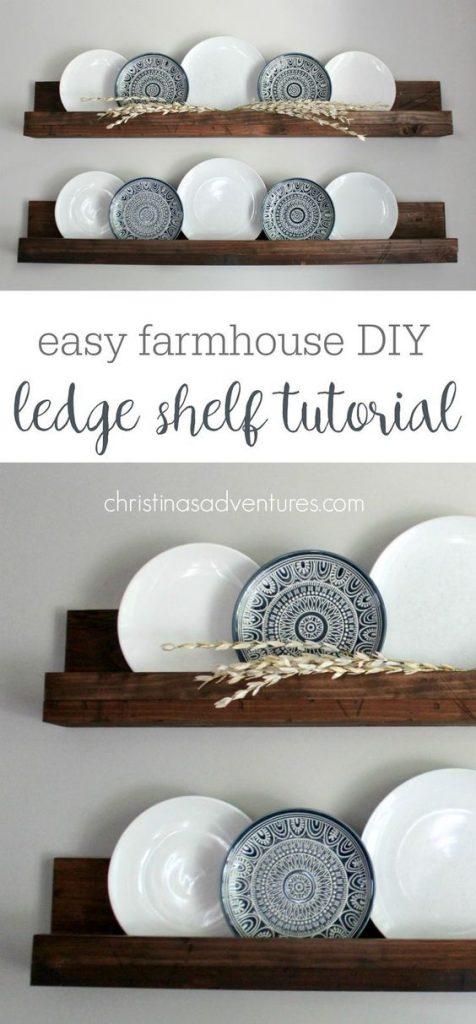 easy farmhouse DIY ledge shelf tutorial