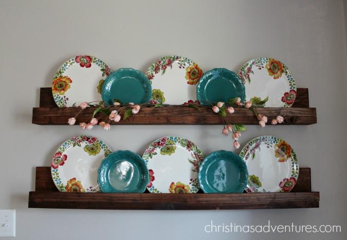 Floral plates on shelves