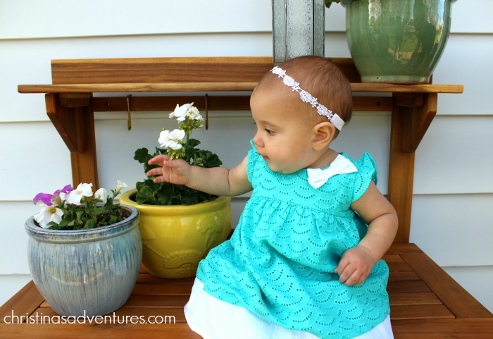 baby girl potting bench