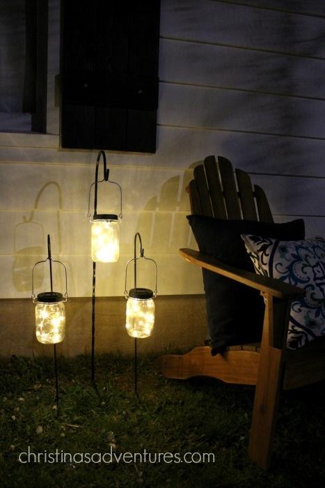 outdoor makeover mason jar solar lights