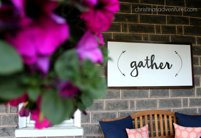 Big gather wood porch sign