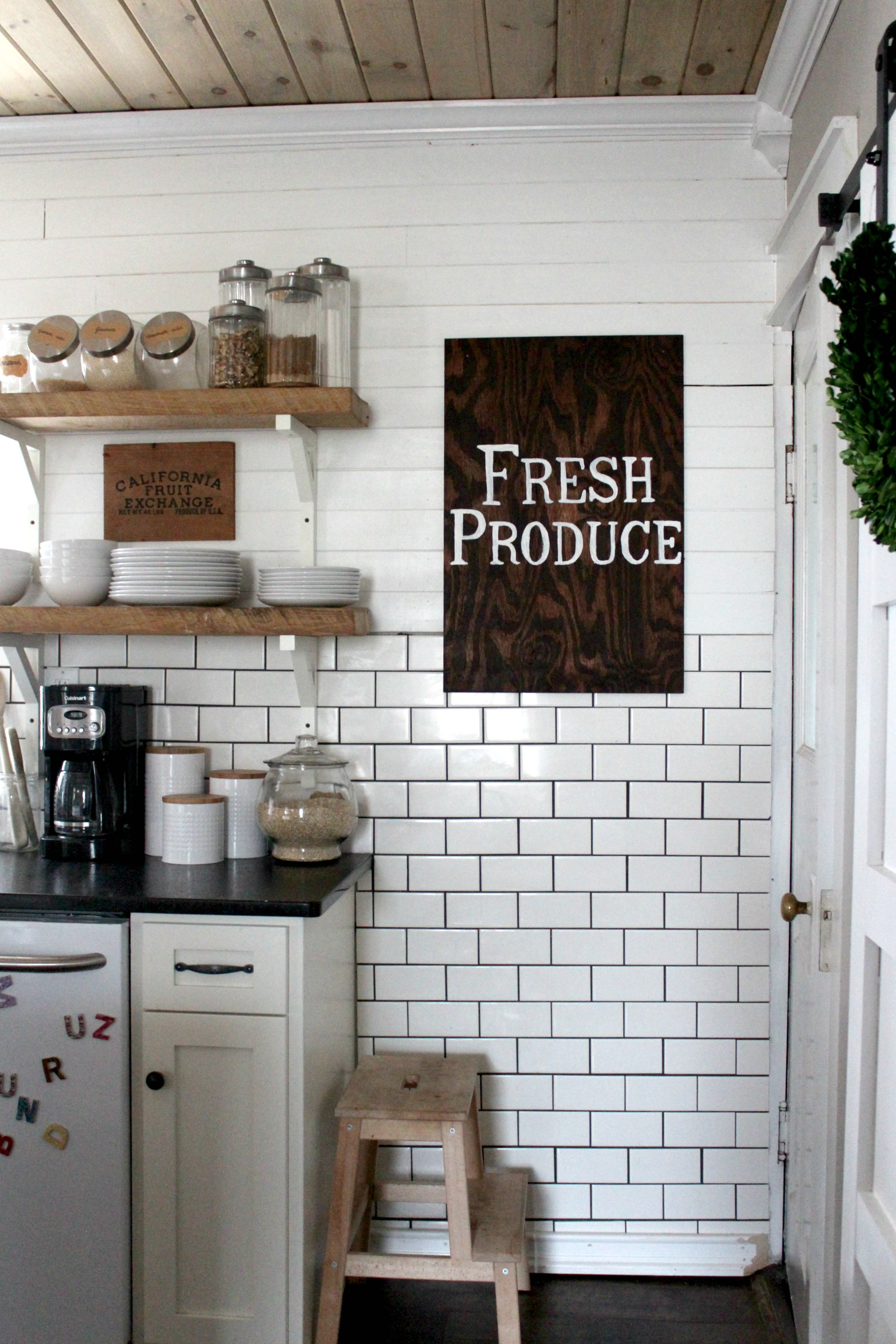 fresh produce kitchen wood sign