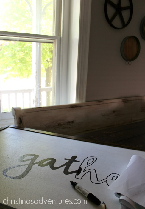 make a gather large wood sign with a sharpie paint pen
