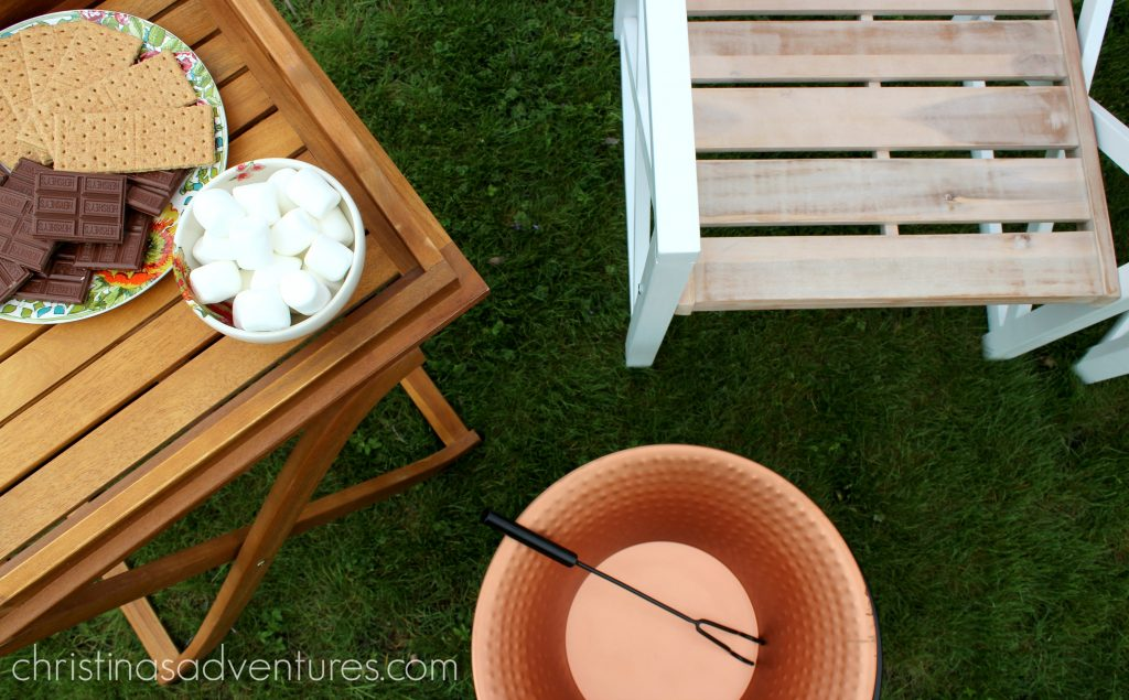 smores and copper fire pit