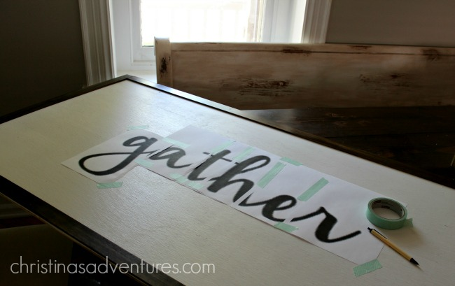 how to transfer text onto a large wood sign